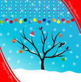 Postcard merry Christmas and happy new year. Placard or Card Template. Winter Illustration with Snowflakes Royalty Free Stock Photography