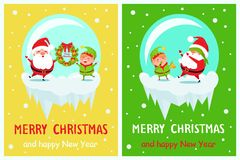 Postcard Merry Christmas Happy New Year Santa Elf Stock Images