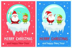 Postcard Merry Christmas Happy New Year Santa Elf. Postcard Merry Christmas Happy New Year Santa and Elf tired cartoon character with stars over head, sing carol stock illustration