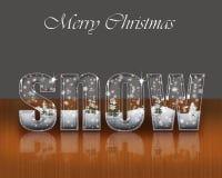 Postcard Merry Christmas. Postcard Merry Christmas-Ice inscription snow Stock Image