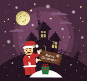 Postcard for Merry Christmas. Ilustration are in cartoon style. Santa Claus night gives a gift. Stock Photo