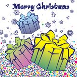 Postcard for Merry Christmas and New Year Royalty Free Stock Image