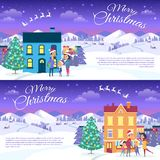 Merry Christmas on City and Blue Sky Background. Postcard with Merry Christmas text. Vector illustration of smiling family father mother and son on white snowy Stock Photos