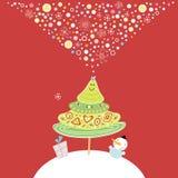 Postcard Merry Christmas Tree Stock Photos