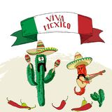 Postcard with Mexican symbols vector illustration