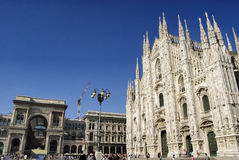 Milan - Duomo. Wide angle shot of the gallery and the Duomo in the city of Milan, Italy Royalty Free Stock Image