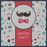 Postcard of modern flat design hipster icons Stock Photo