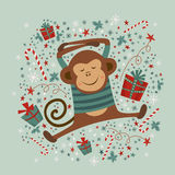 Postcard with monkey,  illustrations. Postcards with monkey  illustrations. Good for calendar, notebook cover, poster or party invitations Stock Photos