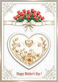 Postcard for Mother`s Day with a heart and  flowers Royalty Free Stock Images
