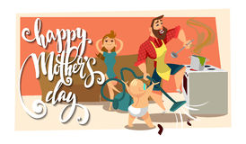 Postcard with Mother`s Day. The woman is resting on the couch, and the man is cooking and vacuuming. Stock Images