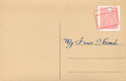 Postcard (My dear friend). Back of blank postcard with stamp stock photo