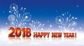 Happy New Year 2018.Background with fireworks. Postcard with the New Year 2018 on a blue background with fireworks Royalty Free Stock Photos