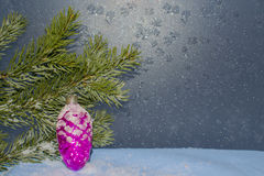 Postcard for the New year. Card background New year with a fir branch and a toy Stock Image