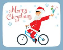 Postcard with the New Year. A cheerful Santa Claus with a cocktail rides a bicycle. Vector graphics vector illustration
