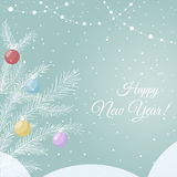 Postcard New Year, Christmas. Abstract background with elegant firtree and colorful baubles, snow. It can be used as an invitation, poster, banner, postcard the Stock Images