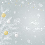 Postcard New Year, Christmas. Abstract background with elegant firtree and colorful baubles, snow. It can be used as an invitation, poster, banner, postcard the Royalty Free Stock Photos