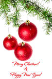Postcard for New Year and Christmas holidays, family or business. Christmas decoration with green pine or fir and red roud ball ornaments for Christmas tree with Royalty Free Stock Photos