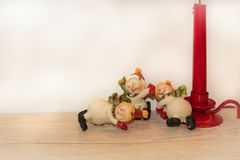 Postcard New Year Christmas Snowmen Stock Images