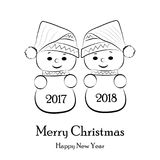 Postcard for the New Year and Christmas with snowmen. Vector Stock Image
