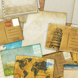 Postcard and old papers Royalty Free Stock Images