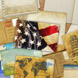 Postcard and old papers Royalty Free Stock Photography