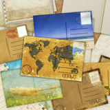 Postcard and old papers Royalty Free Stock Photo