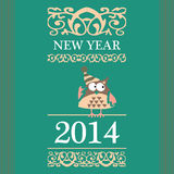 Postcard, owl in winter hat, winter. With patterns and the inscription, 2014 Stock Photos