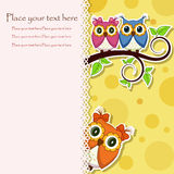 Postcard from the owls on a branch Royalty Free Stock Photo