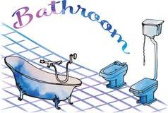 Postcard painted bathroom bathroom on legs antique, toilet with vector illustration