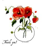 Postcard painted red poppy Royalty Free Stock Photo