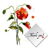 Postcard painted red poppy Stock Photos