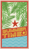 Postcard with Palms, Sea and Starfish for Summertime, Vector Illustration Royalty Free Stock Image
