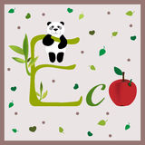 Postcard with panda. Be eco. Postcard with panda. Eco friendly poster Vector Illustration