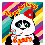 Postcard with panda for 5 years Royalty Free Stock Images