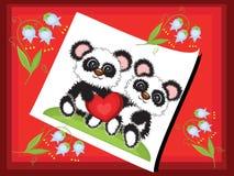 Postcard with pandas Stock Photography