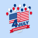 Postcard paper art Day on July 4 Royalty Free Stock Image