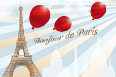 Postcard from Paris. With French text and landmarks - available as eps-vector and jpg-file stock illustration