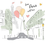 Postcard from Paris street, Eiffel tower and balloons, hand drawn Stock Image