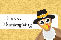Postcard with turkey for Thanksgiving day. Postcard with a pattern on a yellow background and a turkey for Thanksgiving Royalty Free Stock Photo