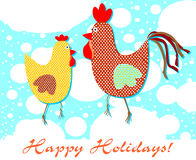 Postcard patterned with a rooster and a hen.. Beautiful illustration of a simple holiday flat in trendy style Stock Image
