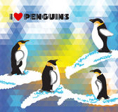 Postcard with penguins and a triangular design. Effect mosaic background Royalty Free Stock Image