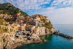 Postcard perfect holiday destination. Cinque Terre, Manarola, colourful buildings Royalty Free Stock Photos