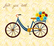 Postcard for person, who love bike and woman alike. City bicycle with flowers in basket. Romantic background with hearts and flowe Stock Images