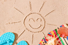 Postcard photo of joyful sun and beach accessories Royalty Free Stock Images