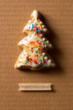 A postcard with a picture of a cookie Christmas tree Royalty Free Stock Photo