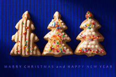 A postcard with a picture of a cookie Christmas tree Stock Photos