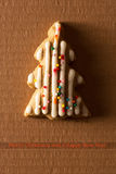 A postcard with a picture of a cookie Christmas tree Stock Photography