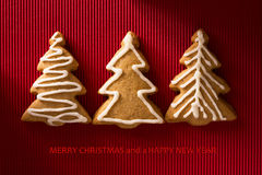 A postcard with a picture of a cookie Christmas tree Stock Images