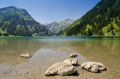 Postcard picture of a lake and mountain Royalty Free Stock Photography