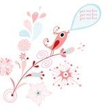 Postcard Pink Singing Bird Stock Photography